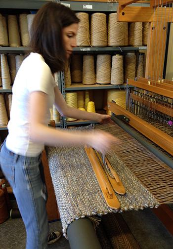 Weaving a new texture design.
