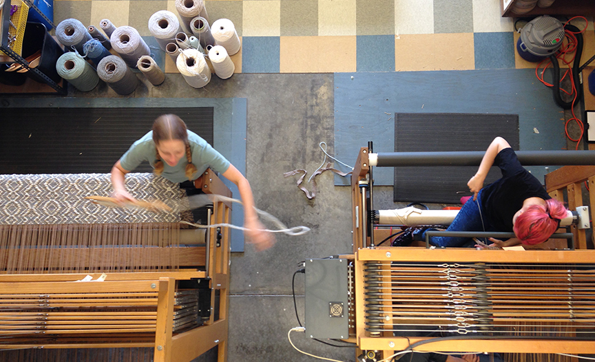 Weaving on the left, dressing the loom on the right.