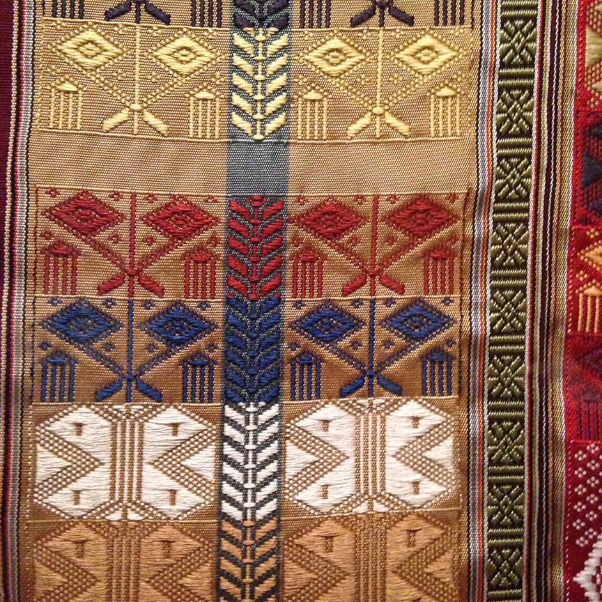 Silk weaving produced by master weavers in Antananarivo, Madagascar.