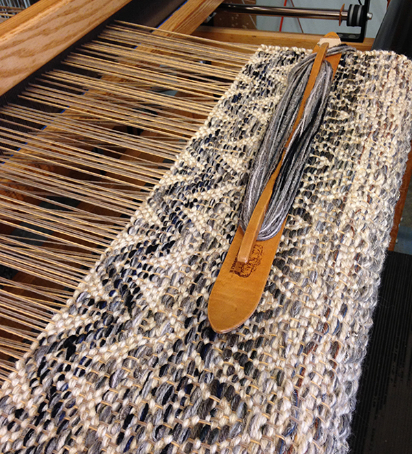 Multi weave rug on Roy (that's the loom name)