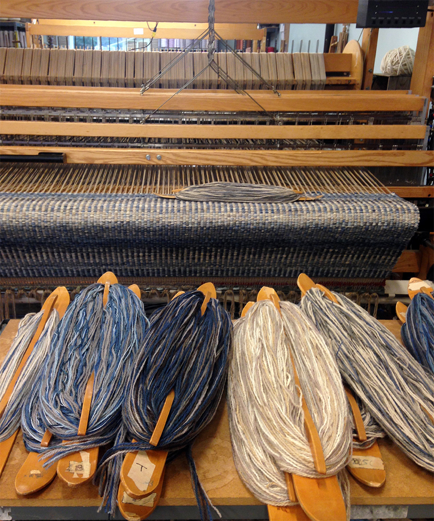 Columns Rug on the loom at True North Textiles