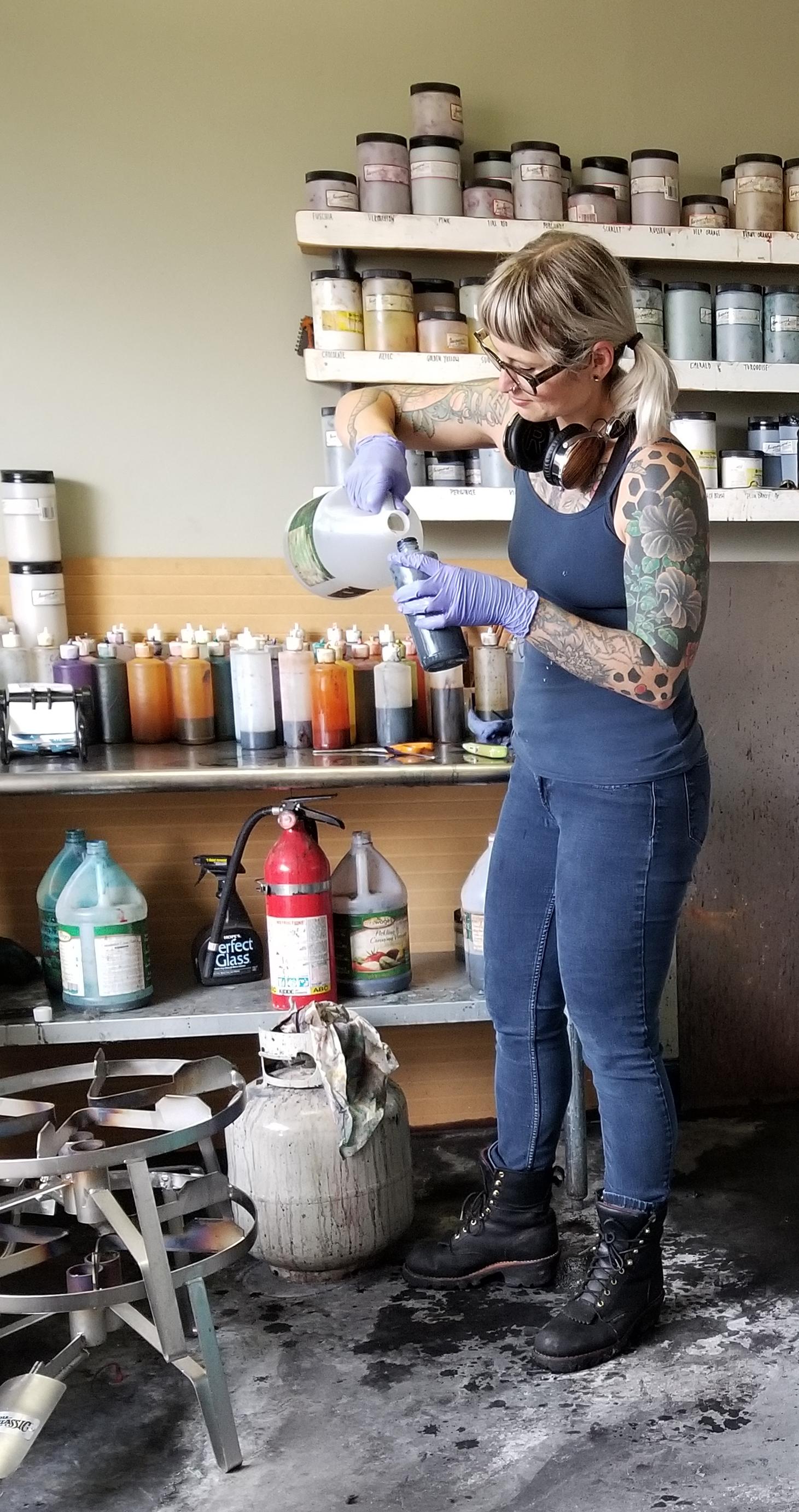 Kate mixing a dye