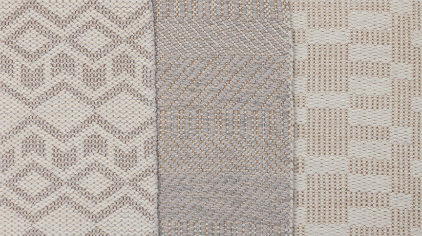 Wintry rugs: Arrow in Shark, Twisp Twill, and Runway.