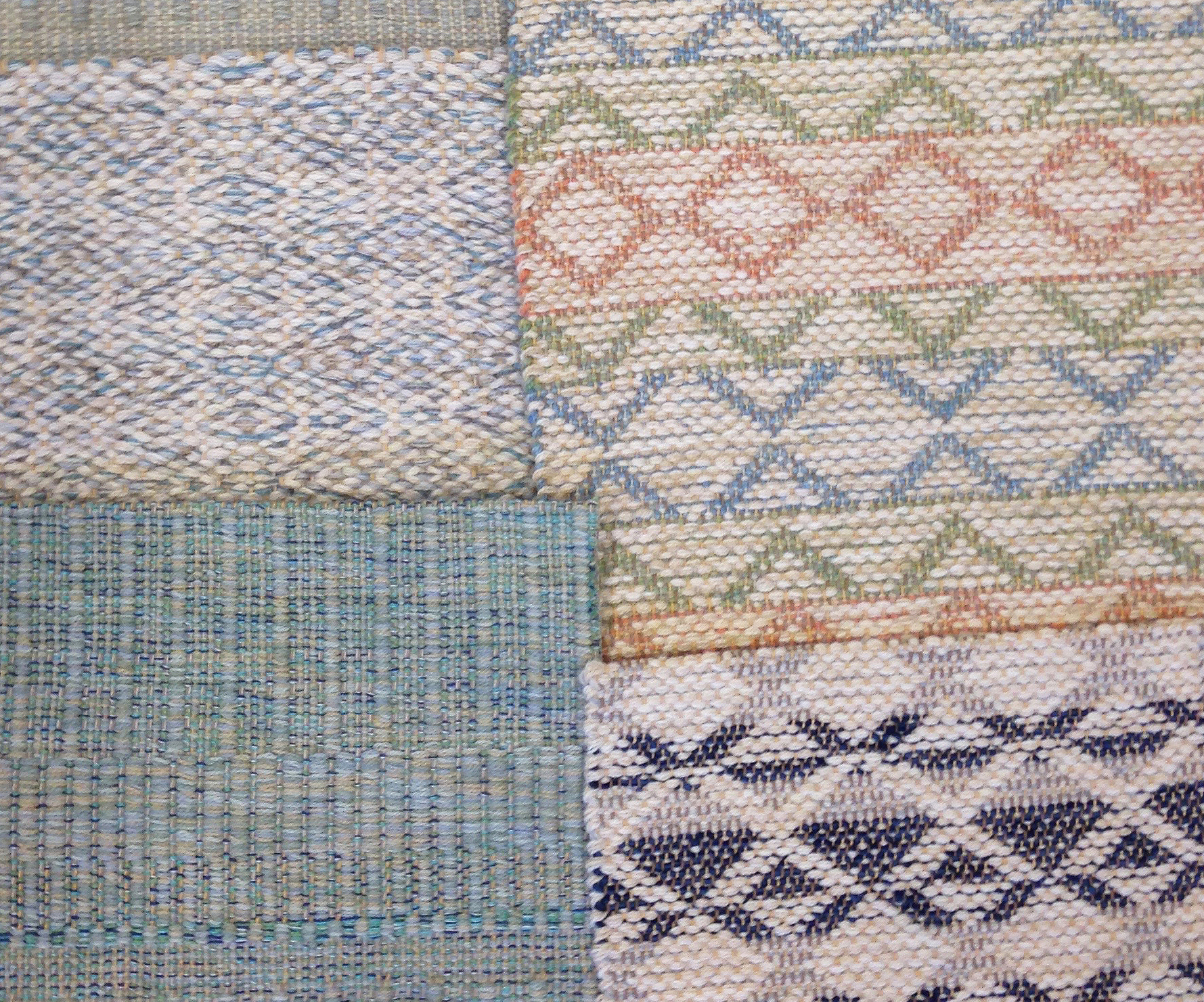 From top left clockwise; Tiger Eye Sky, Madison Triangle Pastel, Bases Navy, Twisp 5 Turquoise