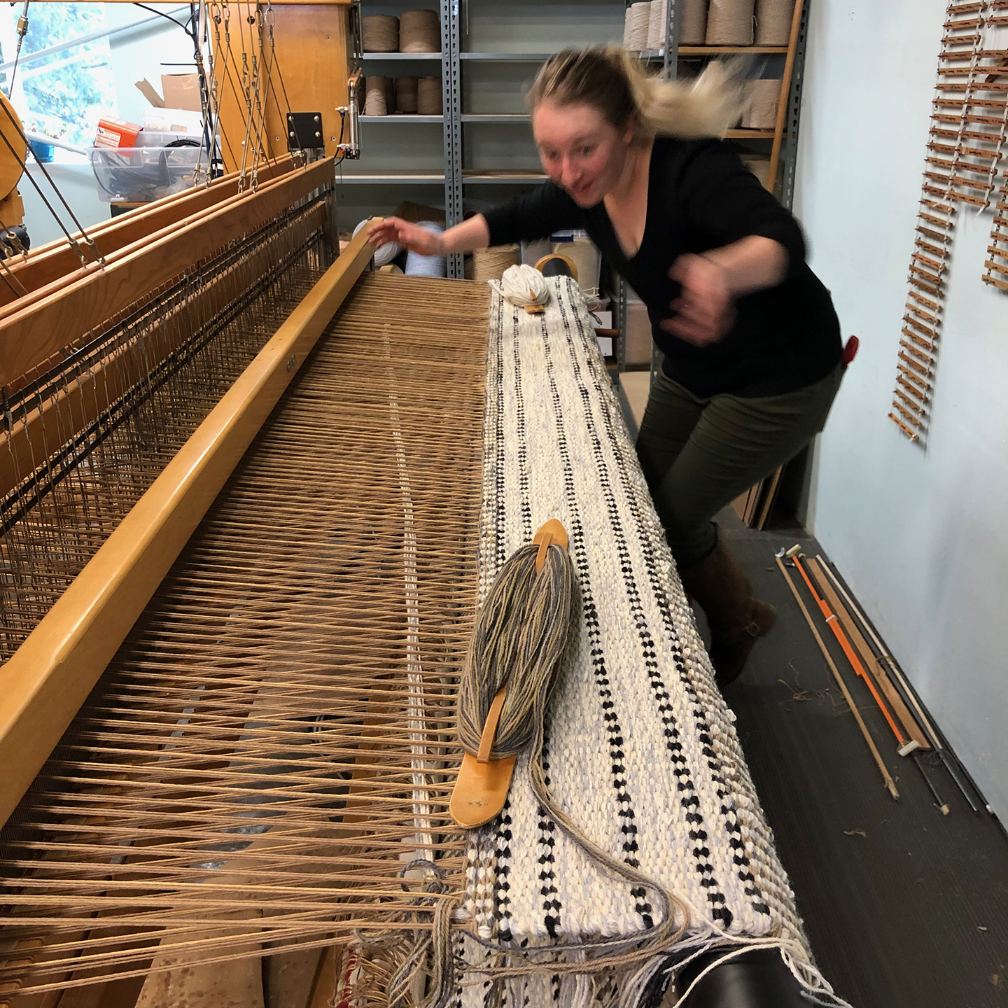 Meredith gets really excited to weave.