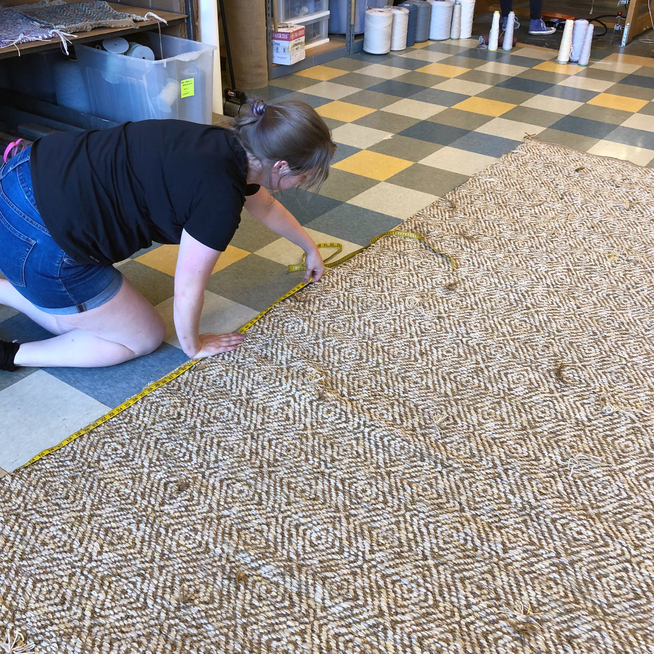 Meredith measuring Creswell Gold off the loom. This is the back side.