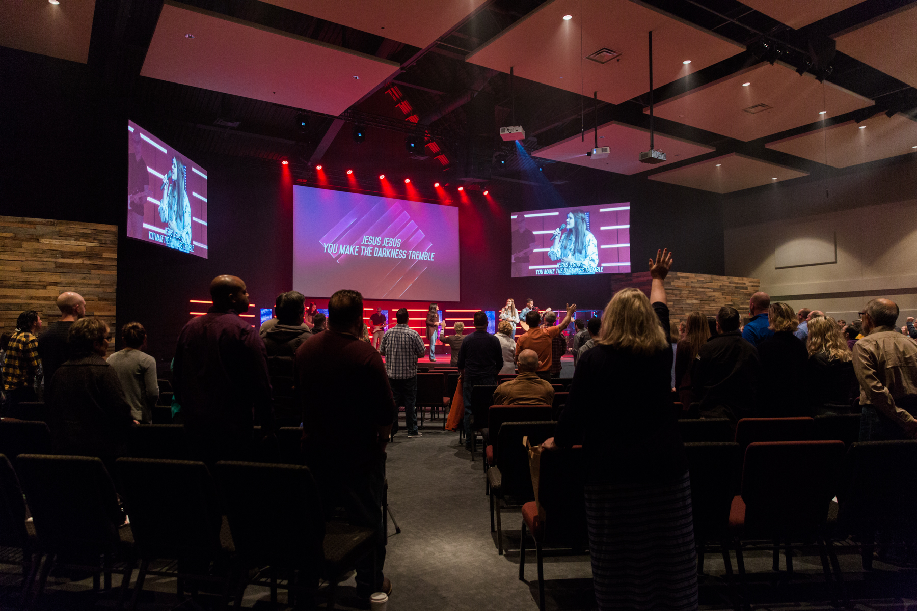 Evergreen's band leads worship during their 9am service.