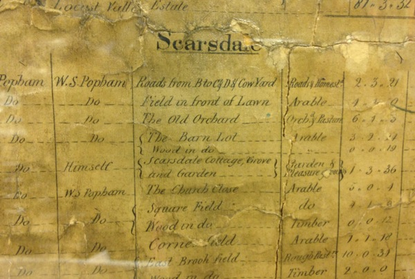 The 1851 map includes a numbered index listing the property owners, acreage and how the land was being used.