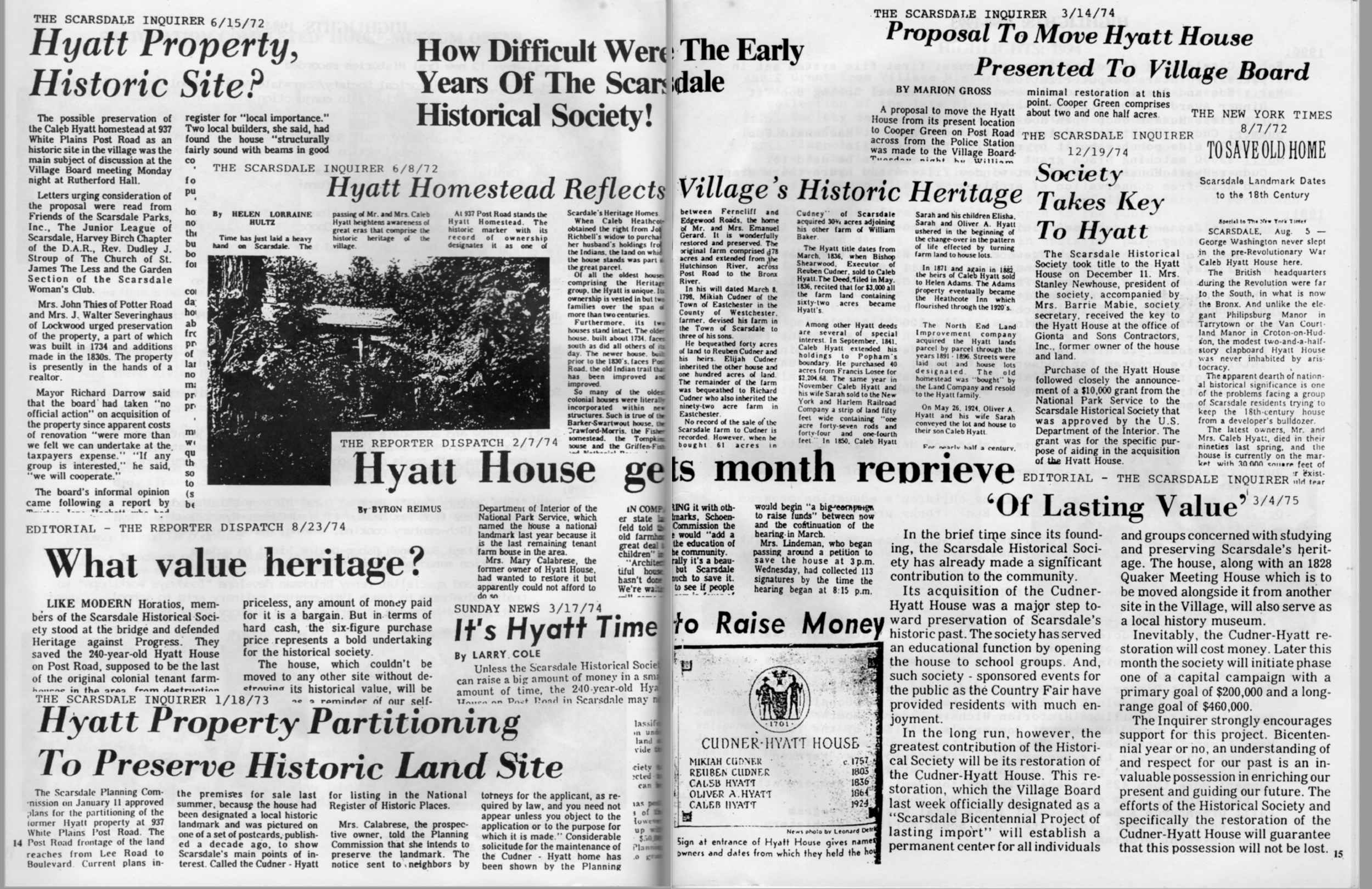 Clips from the many news articles about saving the Cudner-Hyatt House.(From  Celebrating 25 Years of Progress 1974 to 1999,  Scarsdale Historical Society booklet)