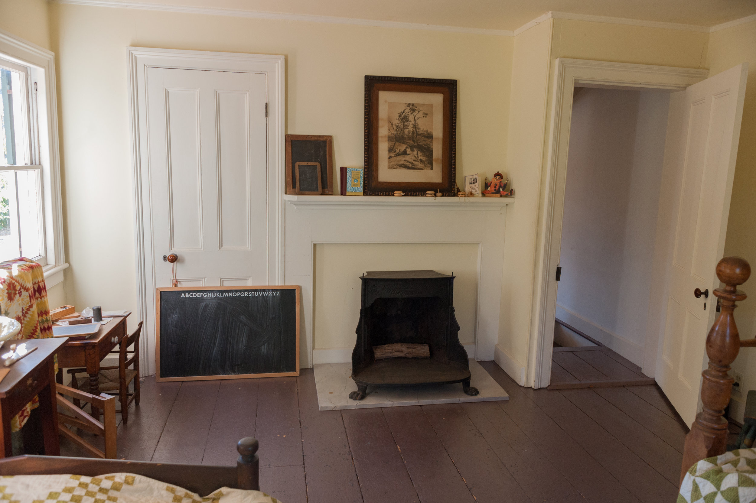 Another Franklin Stove in the fireplace kept the children's room warm.