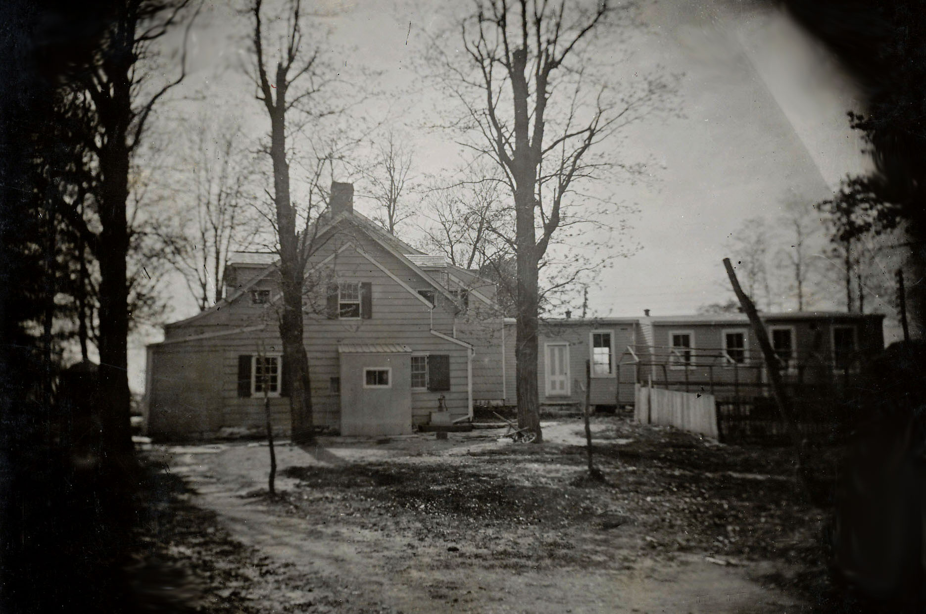 A rear view of the Bates House, circa 1896.