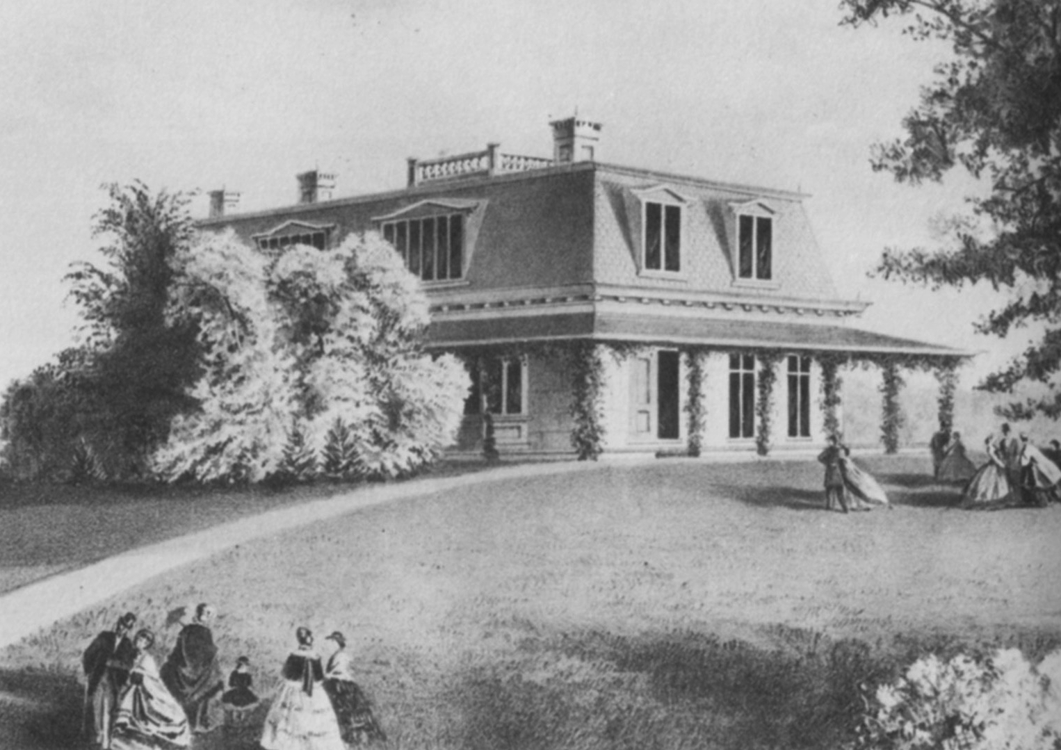William Bailey Lang drew this sketch of the Rowsley Cottage.