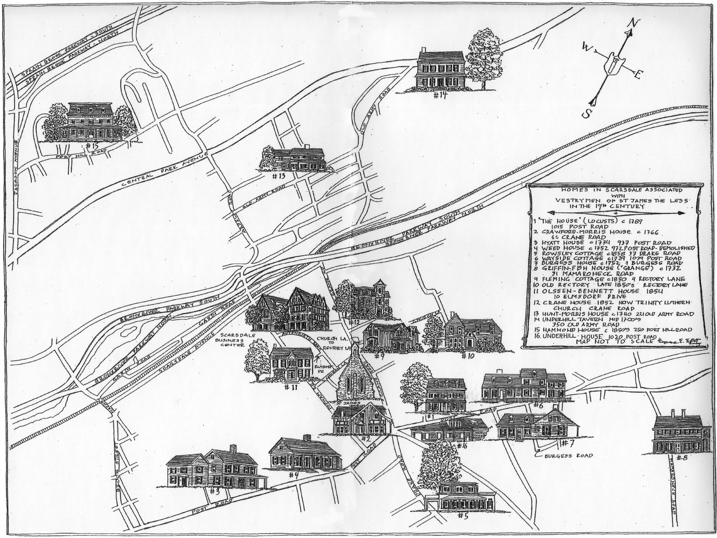 This lovely illustrated map, showing some of the early houses in Scarsdale (and Greenville), is from Louise Kinsey Clark's book about the history of the Church of St. James the Less,  From Rural Church to Suburban Parish . Many of the early farmhouses in Scarsdale were built along the Post Road, which was once a Native American trail. Unfortunately the Weed House (#4) has since been torn down.