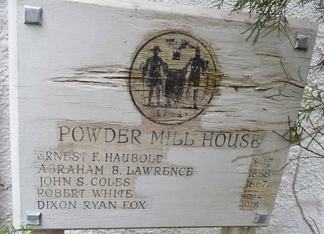 A marker next to the Haubold-Powder Mill House lists some of the previous owners.