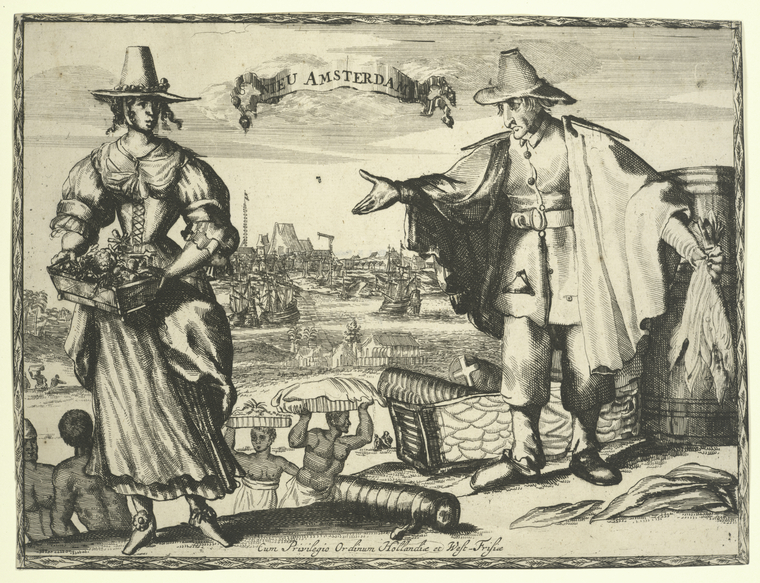 One of the earliest depictions of New Amsterdam, c. 1642.