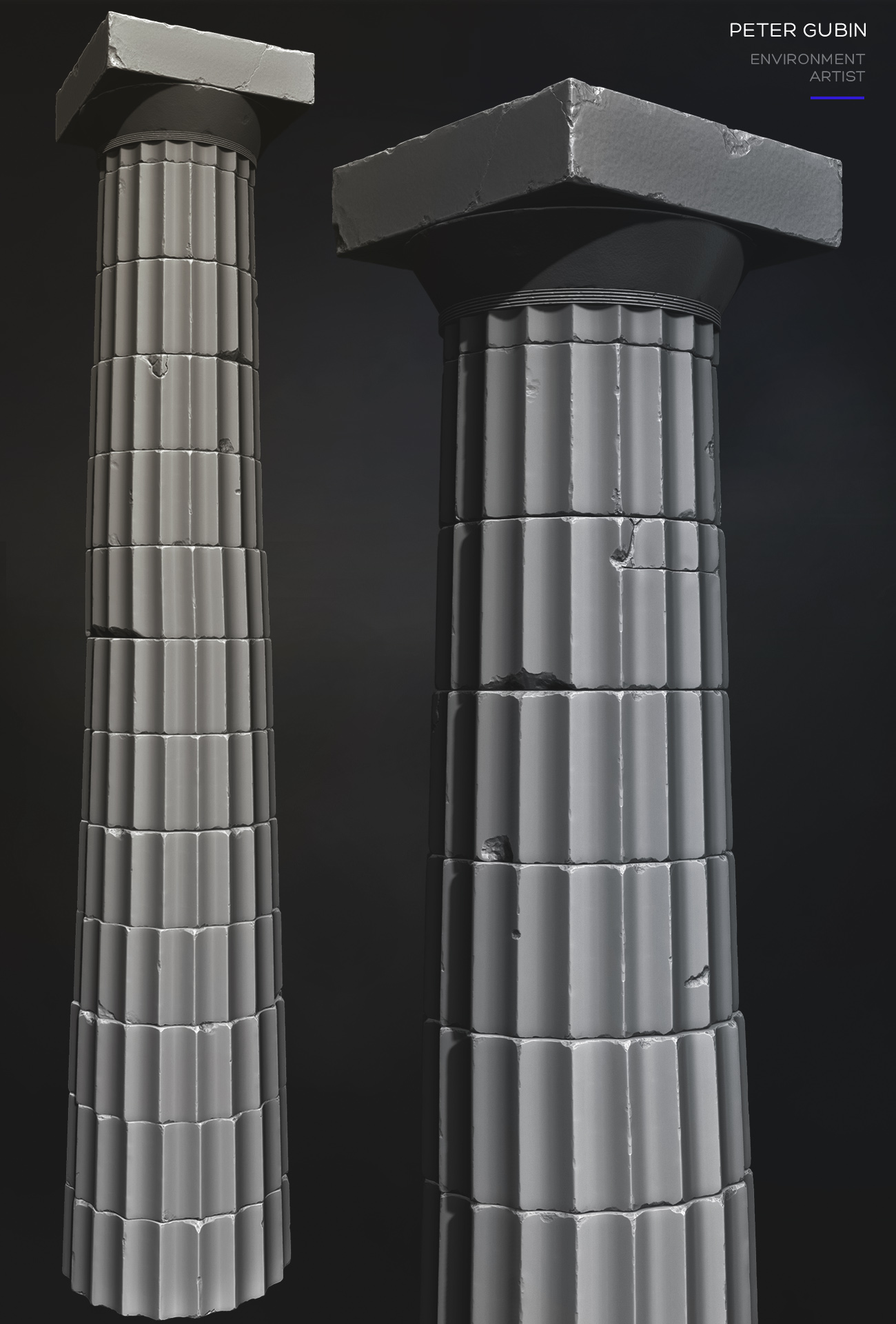 Zbrush study of the doric column of Parthenon, Athenian Acropolis (Greece). Architects - Ictinus and Calicrates (447 - 432 BC).