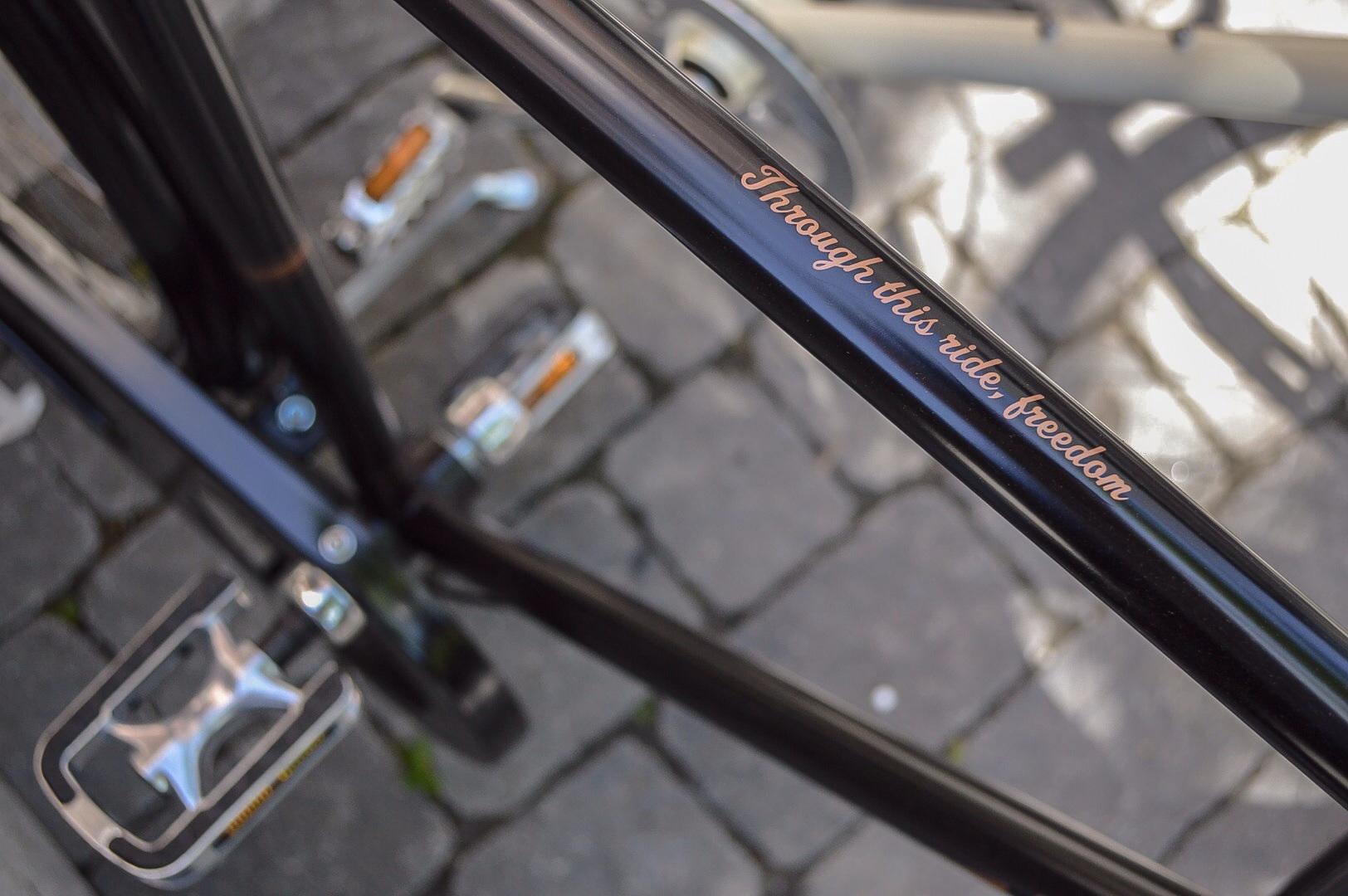 Words of wisdom painted on the top of every Simcoe Bicycle.