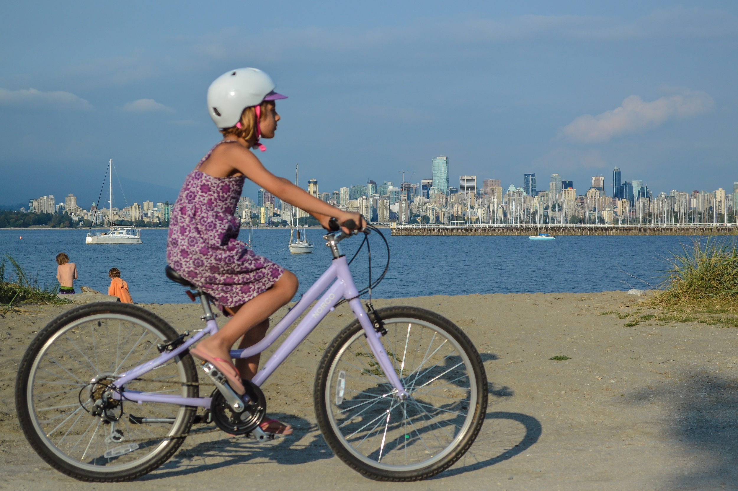 Our daughter showing how simple the freedom of two-wheeled travel is. (Photo by:  Chris Bruntlett )