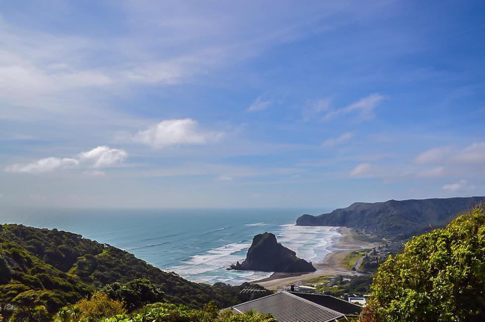 The stunning view of Lion Rock from above Piha Beach.