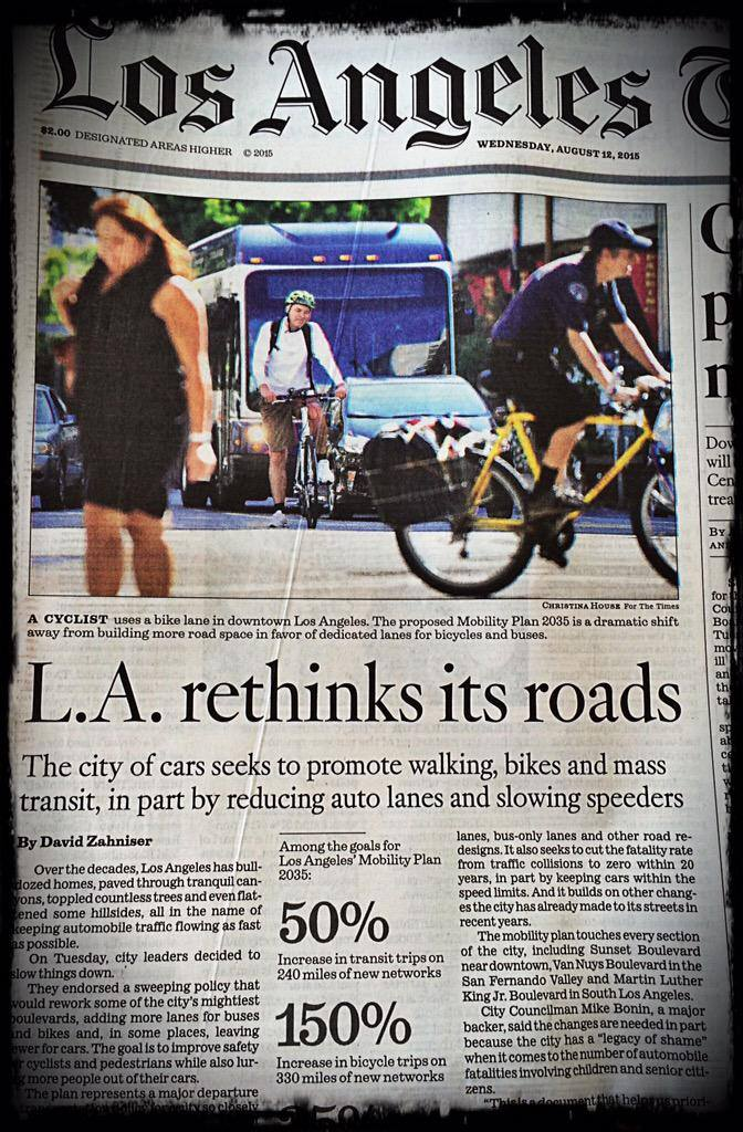 L.A.'s new 2035 Mobility Plan includes over 300 miles of protected bike lanes.