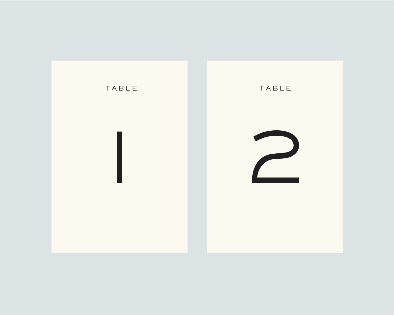 Table numbers - option 1
