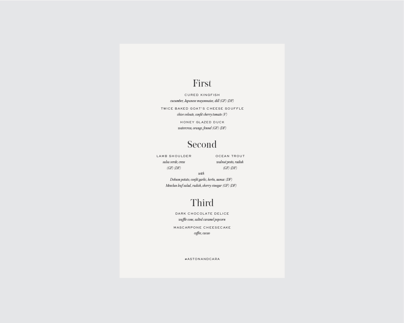 Menu - Single sided, or back