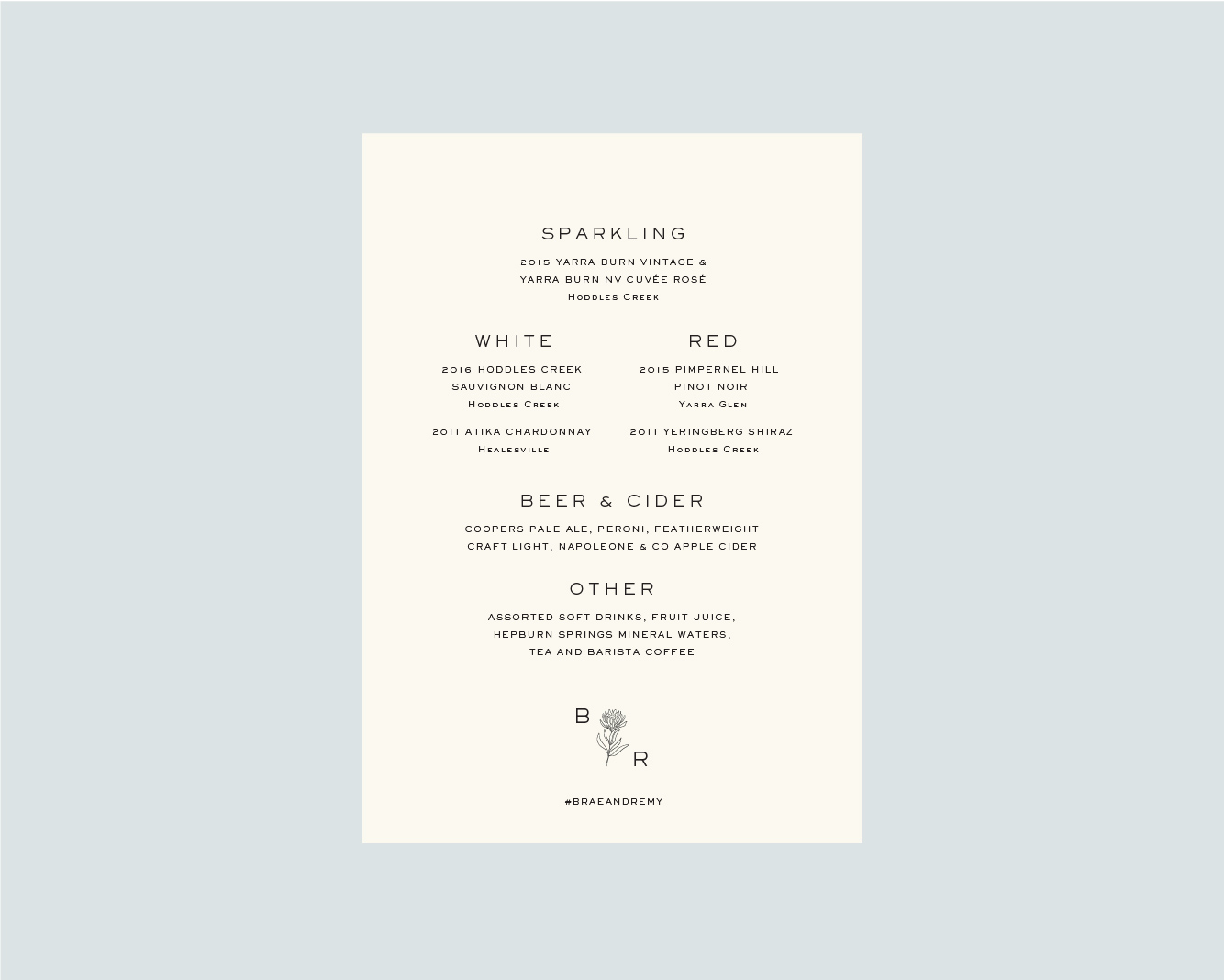 Drinks menu - back