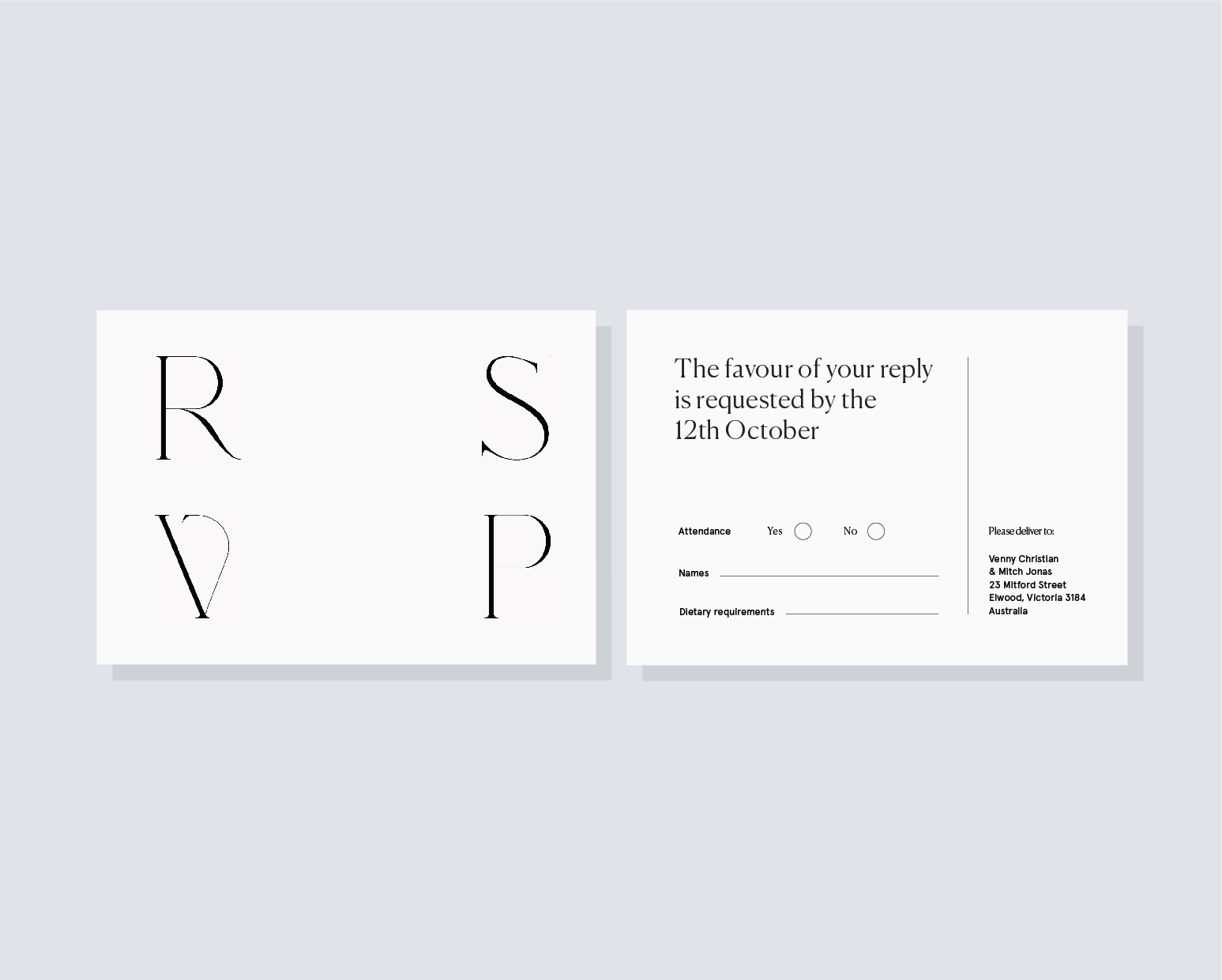 RSVP return postcard - A6