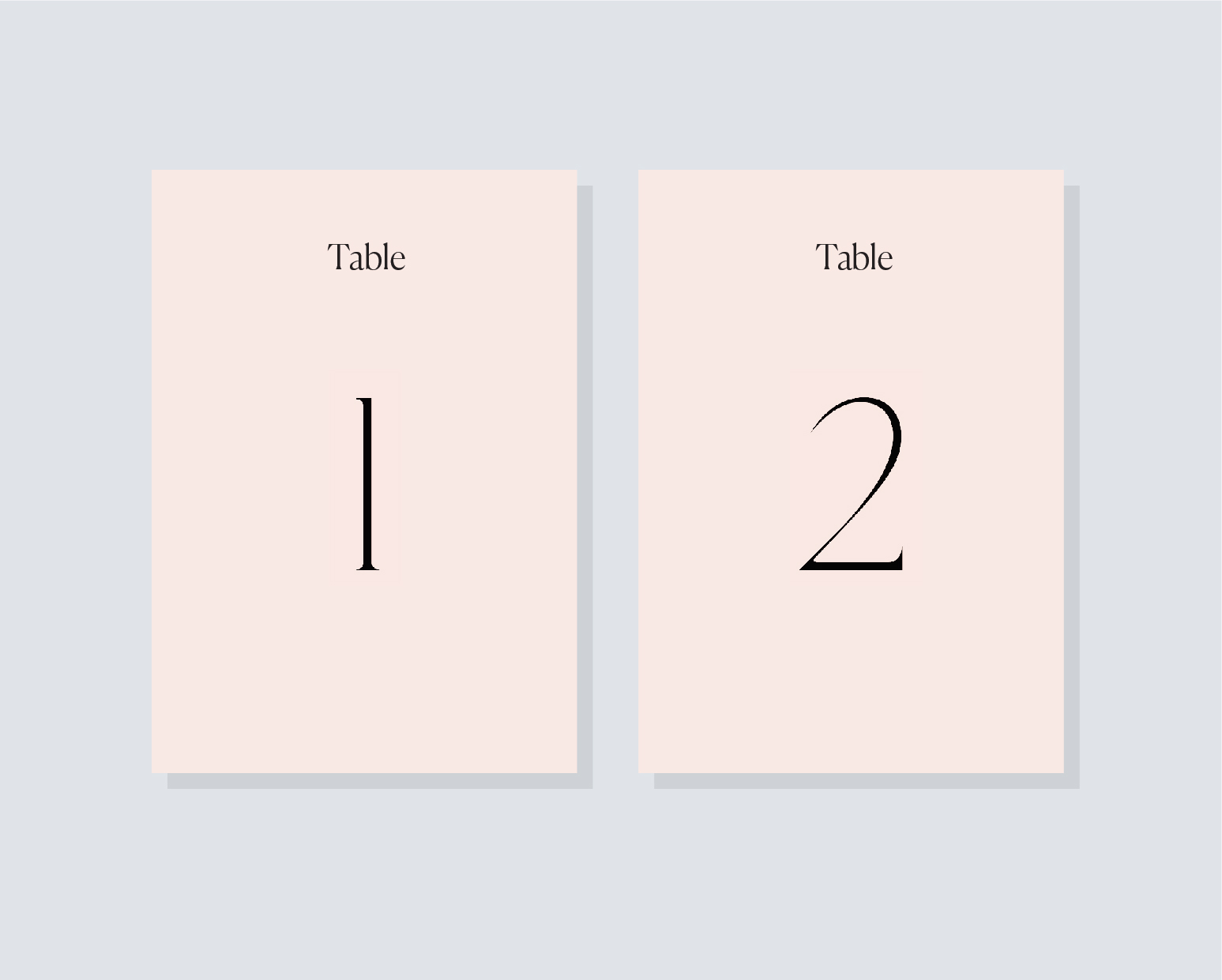 Table numbers 2 - portrait