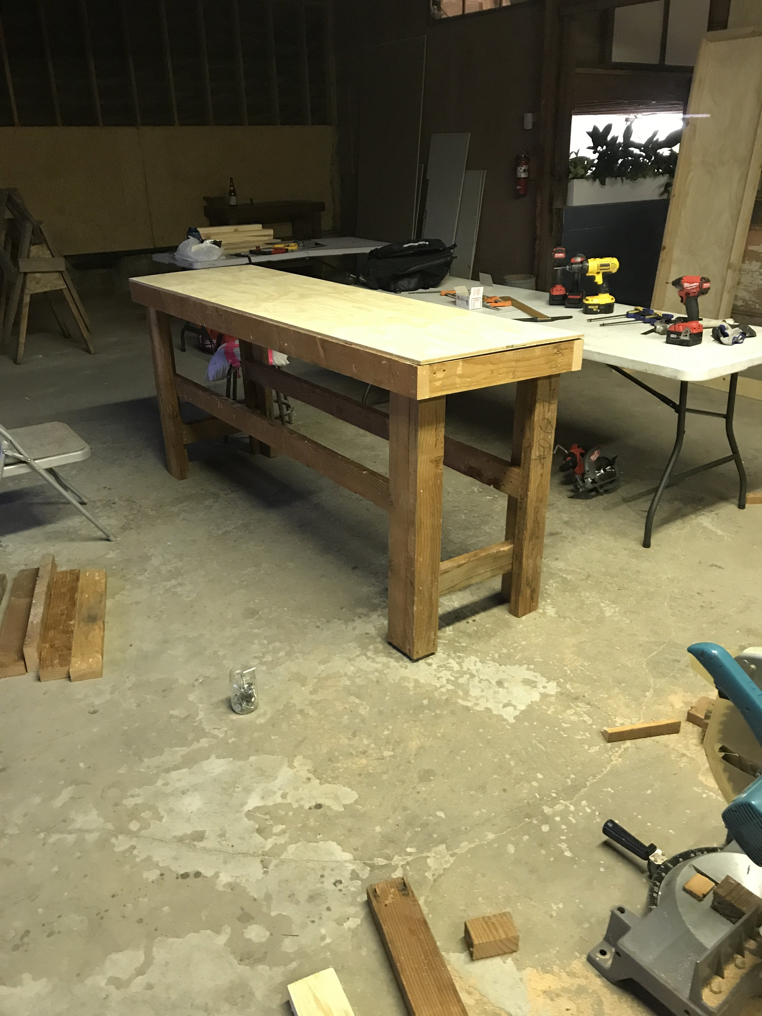 I built some brand new studio tables, with the help of my sweet heart Steve, that really help me utilize the space better!!