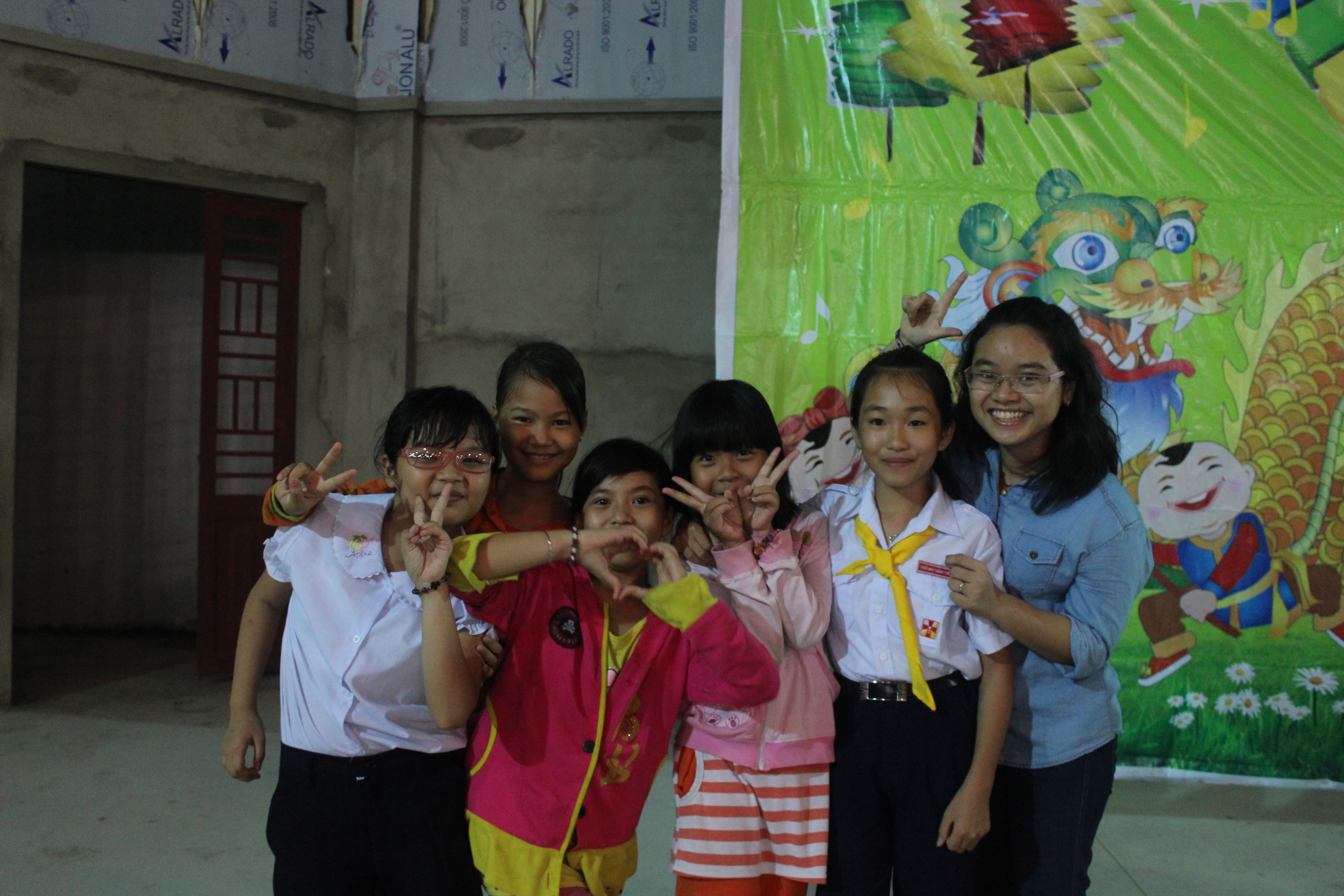 Quynh Lan playing with some of the kids