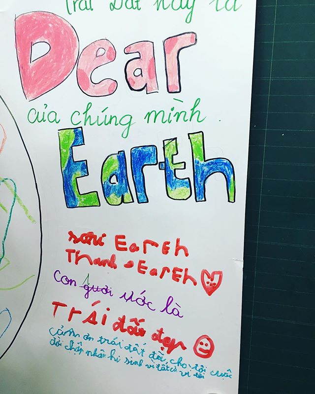Sorry Earth, Thank Earth!! It's hard to believe that such meaningful message was written by the 3rd grade kid that we worked with today. #stepcamp2019 #earth #environment