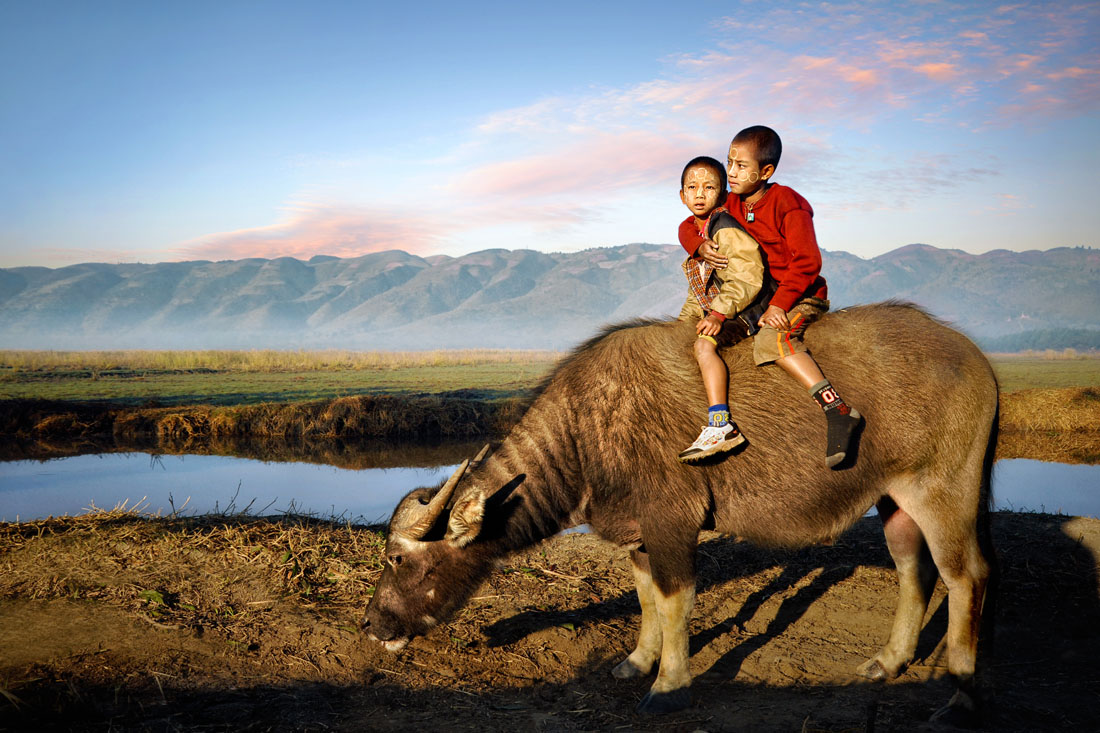 Two brothers in rural Myanmar sit on the back of a buffalo owned by their family (Credit:  David Lazar )