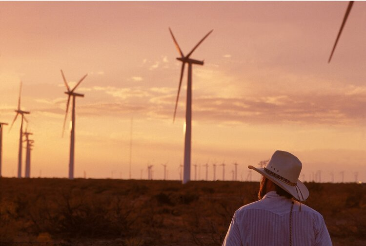 "The King Mountain Wind Ranch in Texas. ""I never thought that wind would pay more than oil. That noise they make – it's kind of like a cash register.""  Image credit:   Cielo Wind Power Corporation"