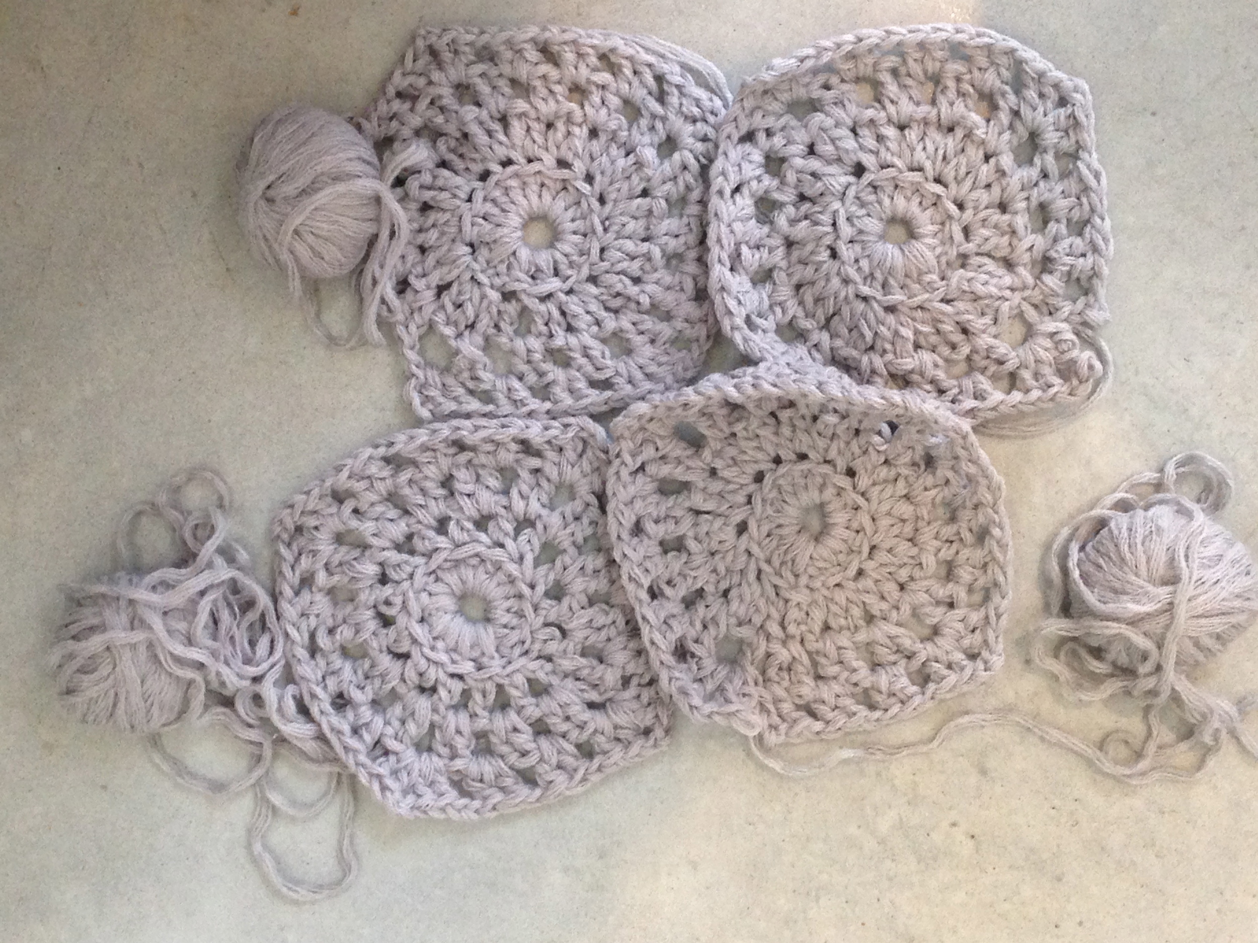 Granny Squares... They need to be pulled into shape.