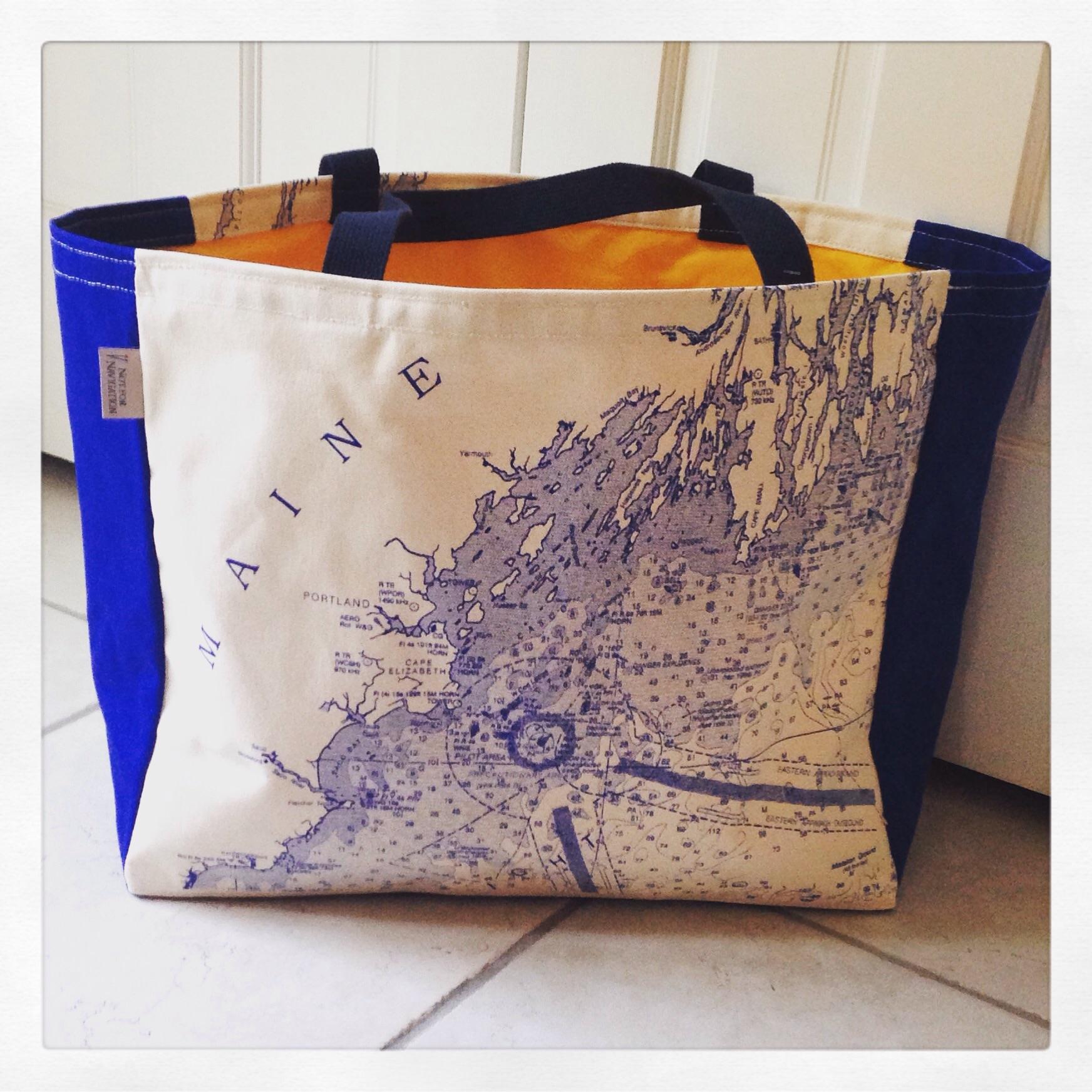 Blue Maine beach bag