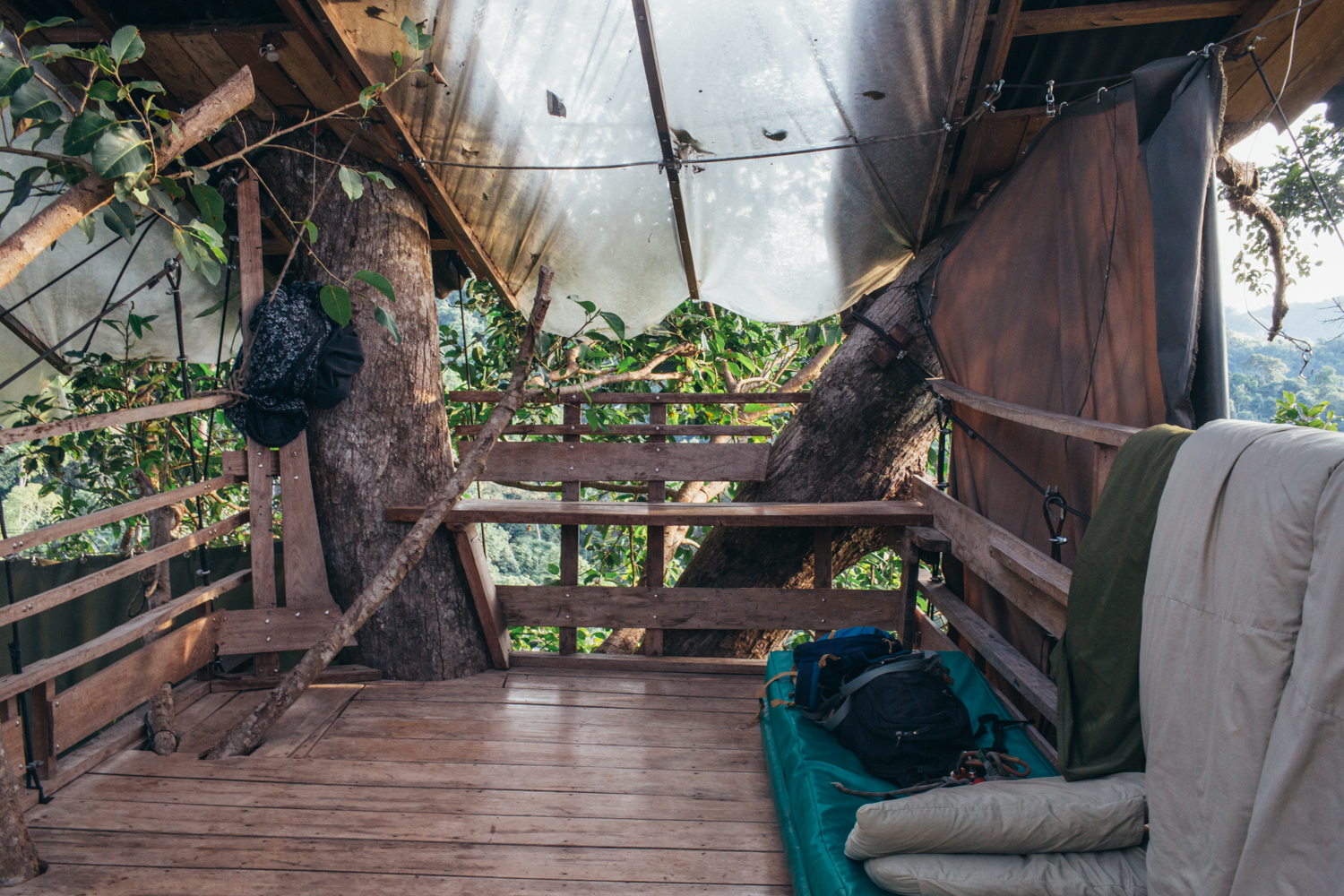 Treehouse where I slept in after zip-lining through the jungle in Laos.