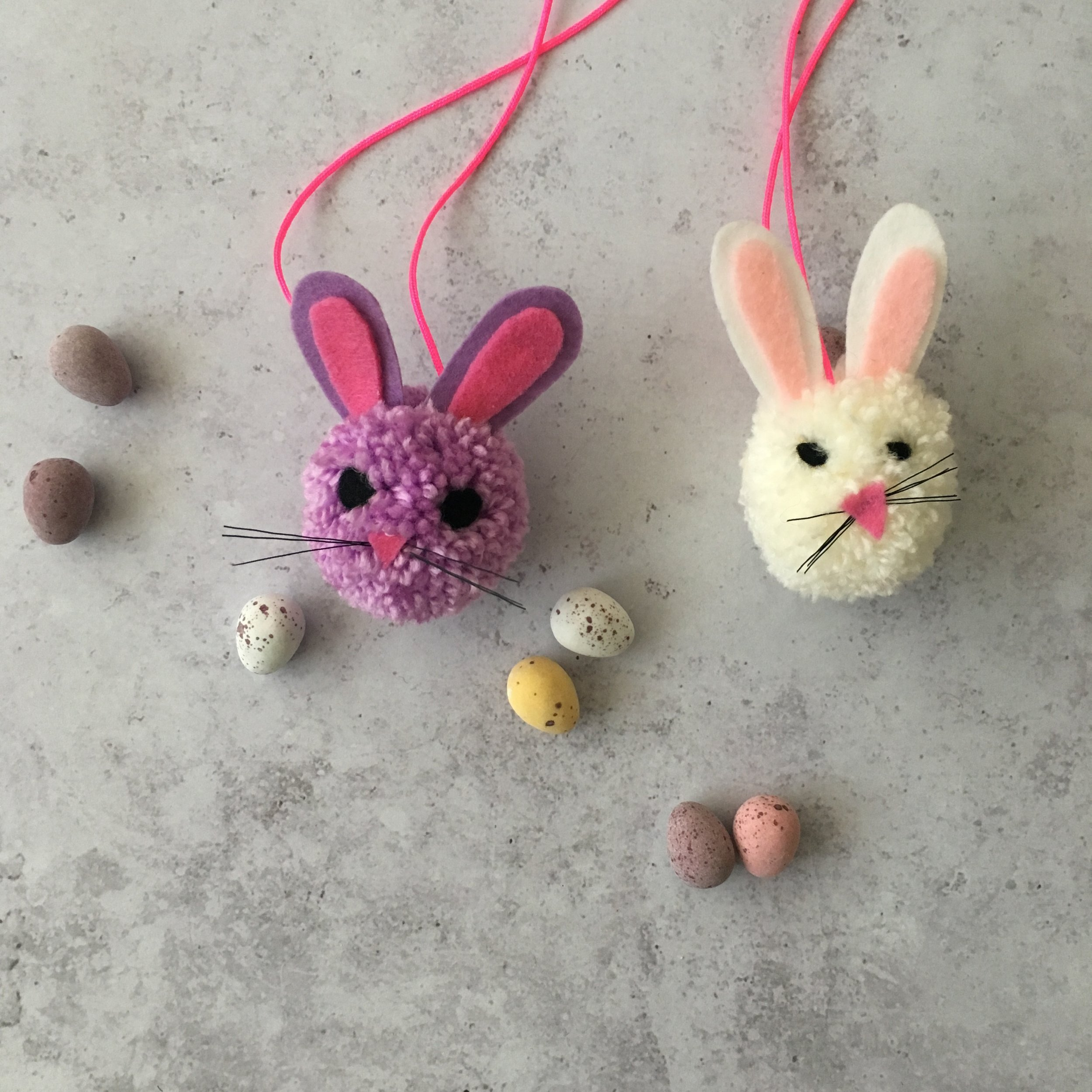 bunny pom pom necklaces