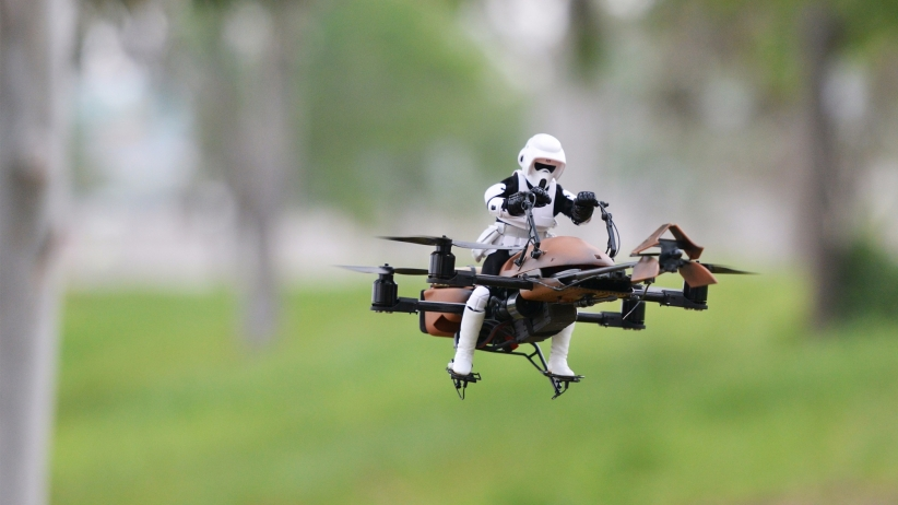 In honor of the Star Wars premiere and new FAA drone rules, here is a clone on a drone.  Made by Adam Woodworth, photograph by Stephen Warrener.
