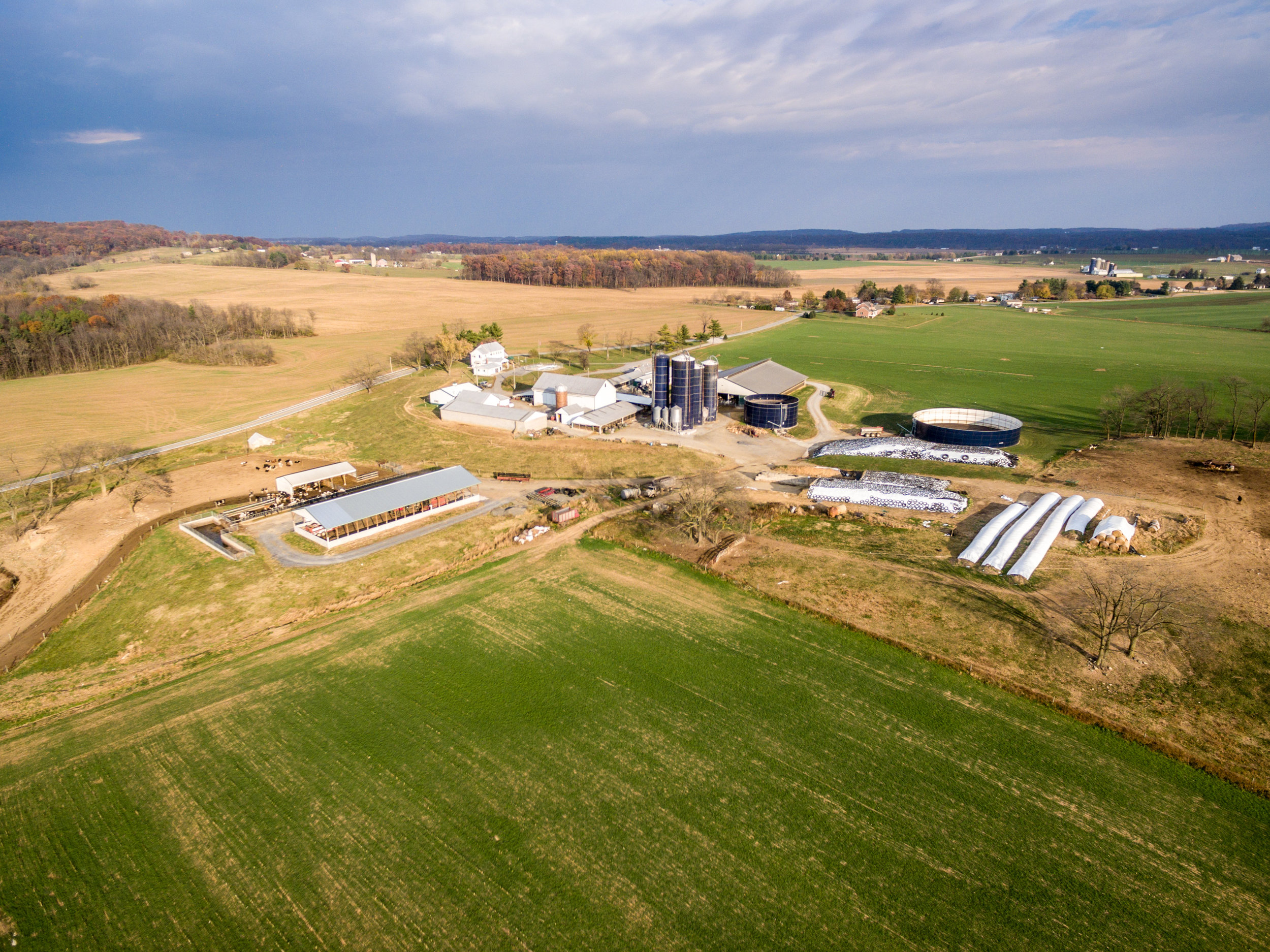 Photo by Edwin Remsberg. Aerial image of dairy farm in Maryland highlights barns, buildings, and fields associated with the dairy.