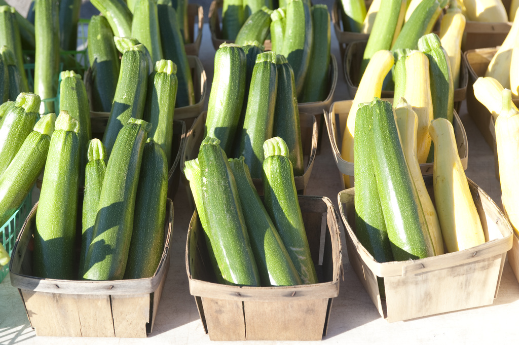 The image shows several boxes of zucchini lined up. Photo taken by Edwin Remsberg.