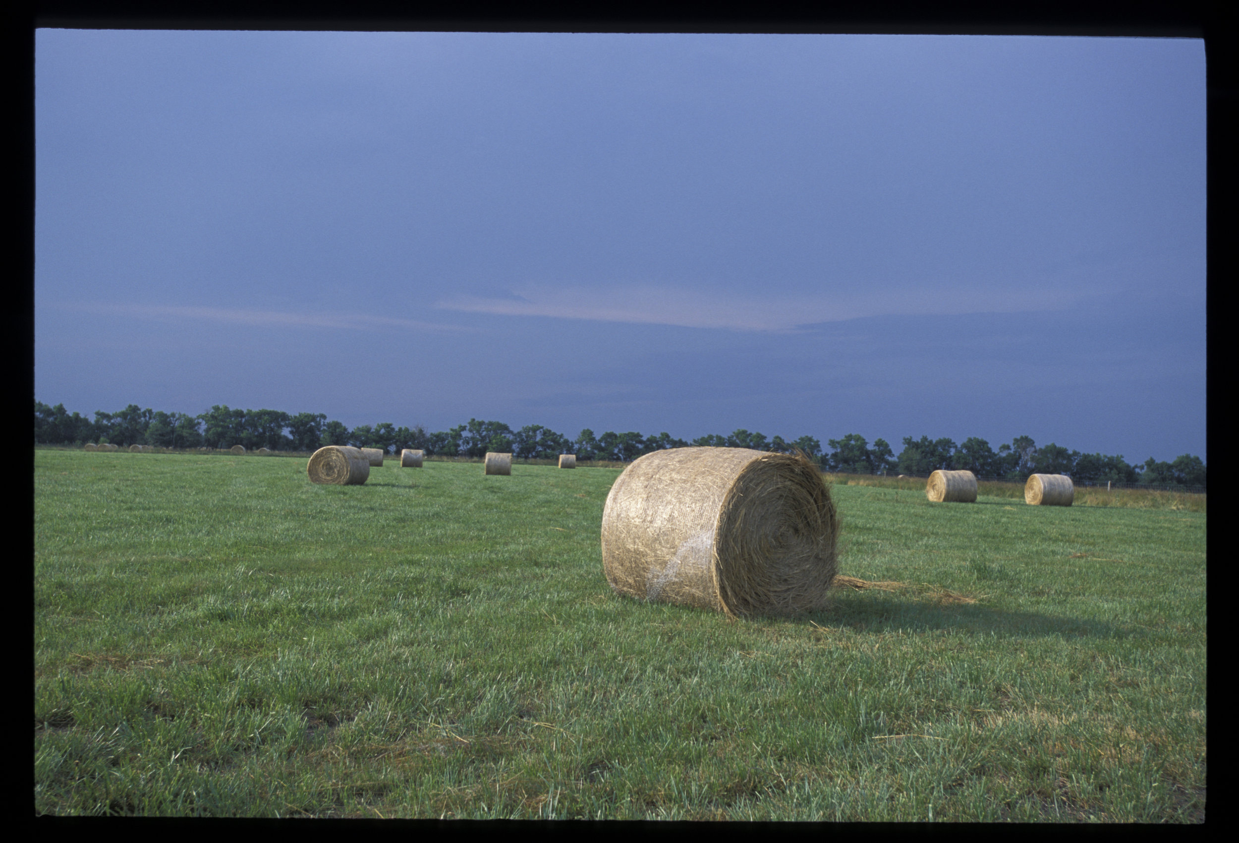 Image is by Edwin Remsberg.  Image shows round bales in hayfield on a cloudy day.
