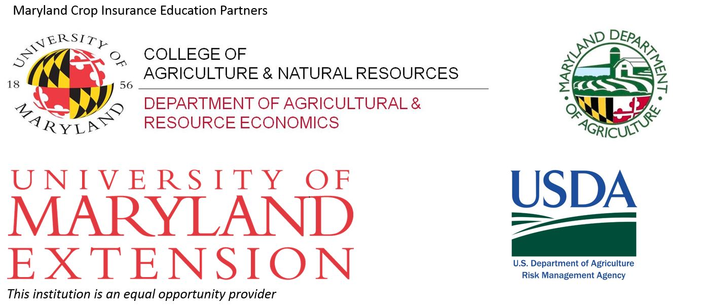 Image shows logos for Department of Agricultural and Resource Economics, Maryland Department of Agriculture, University of Maryland Extension, and USDA-RMA.