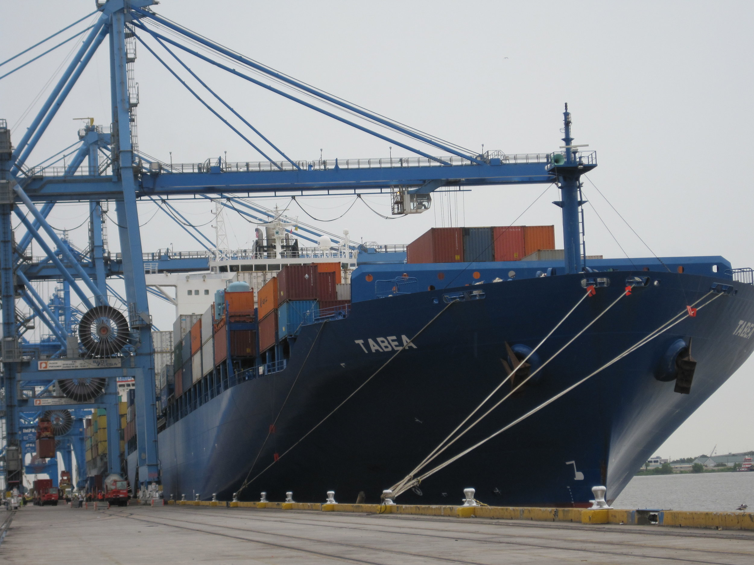 Cargo ship in port of New Orleans. Image by United Soybean Board.