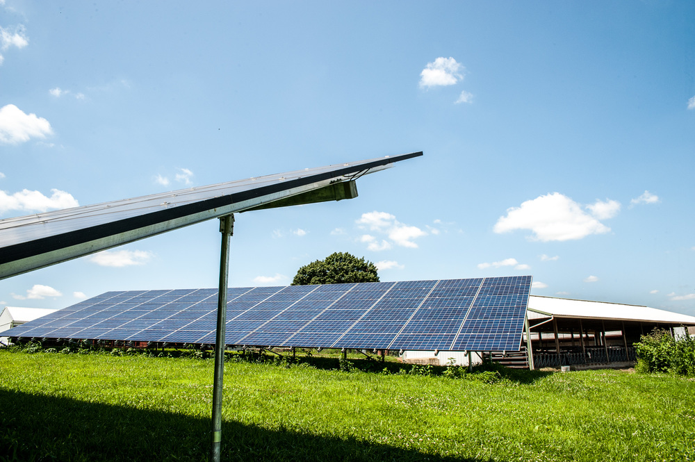Image of solar panels on a farm. Photo Credit Edwin Remsberg.