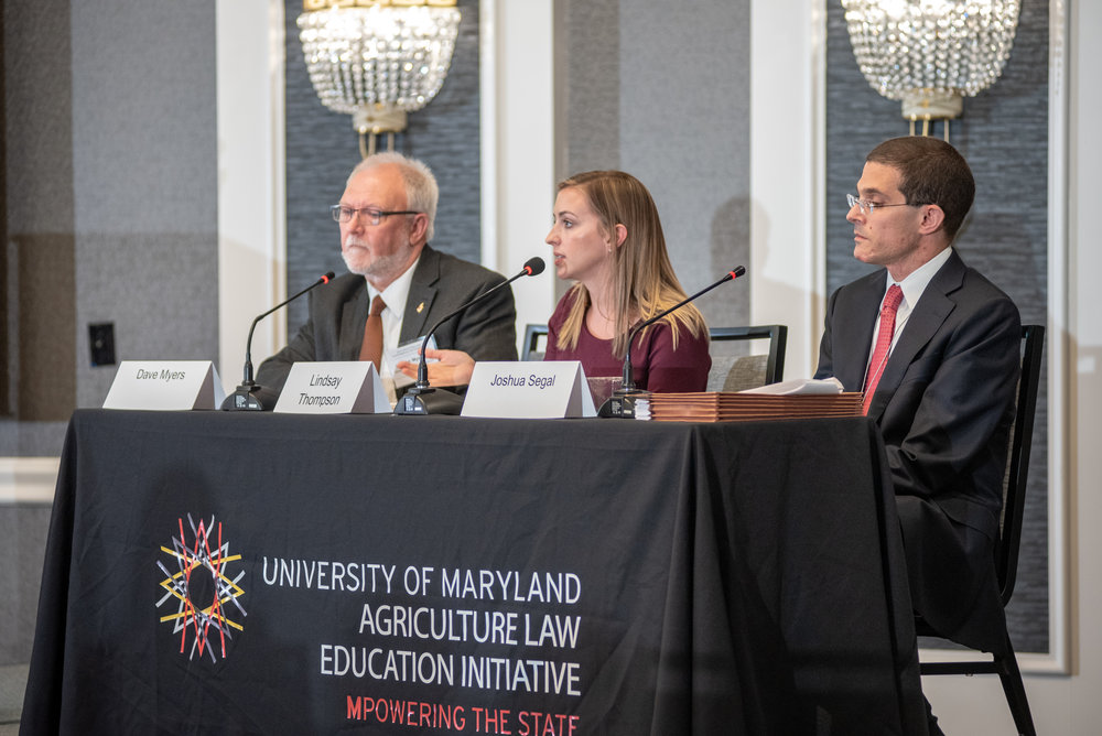 Panelists at the 2018 Agricultural and Environmental Law Conference discussing chlorpyrifos and the legal landscape of pesticide regulation . Photo Credit Edwin Remberg.