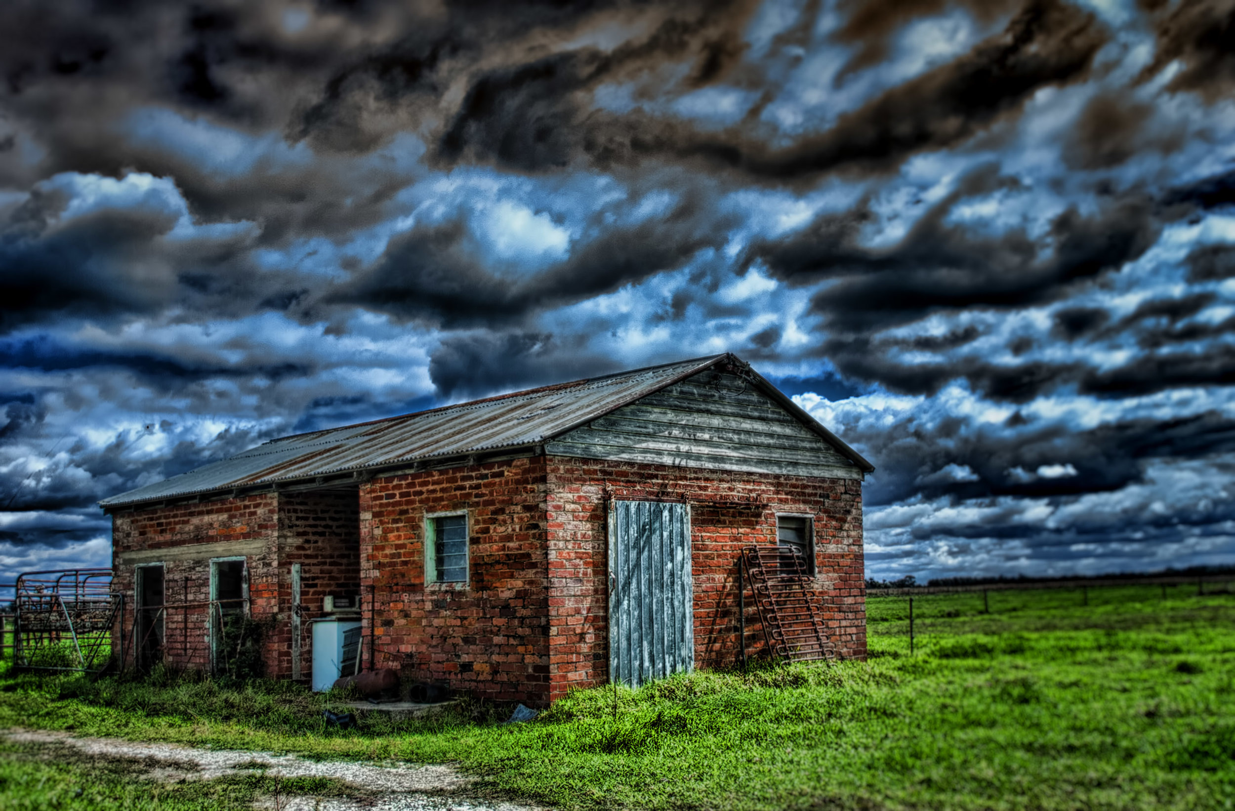 Old milking shed on cloudy day. Image by Indigo Skies Photography