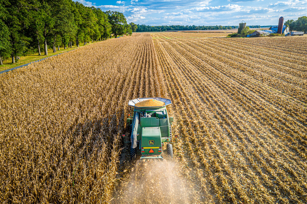 Corn Harvest from above on the Eastern Shore of Maryland. Photo Credit Edwin Remsberg