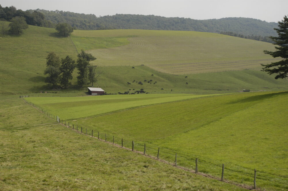 The image shows a farm pasture. Photo Credit: Edwin Remsburg.