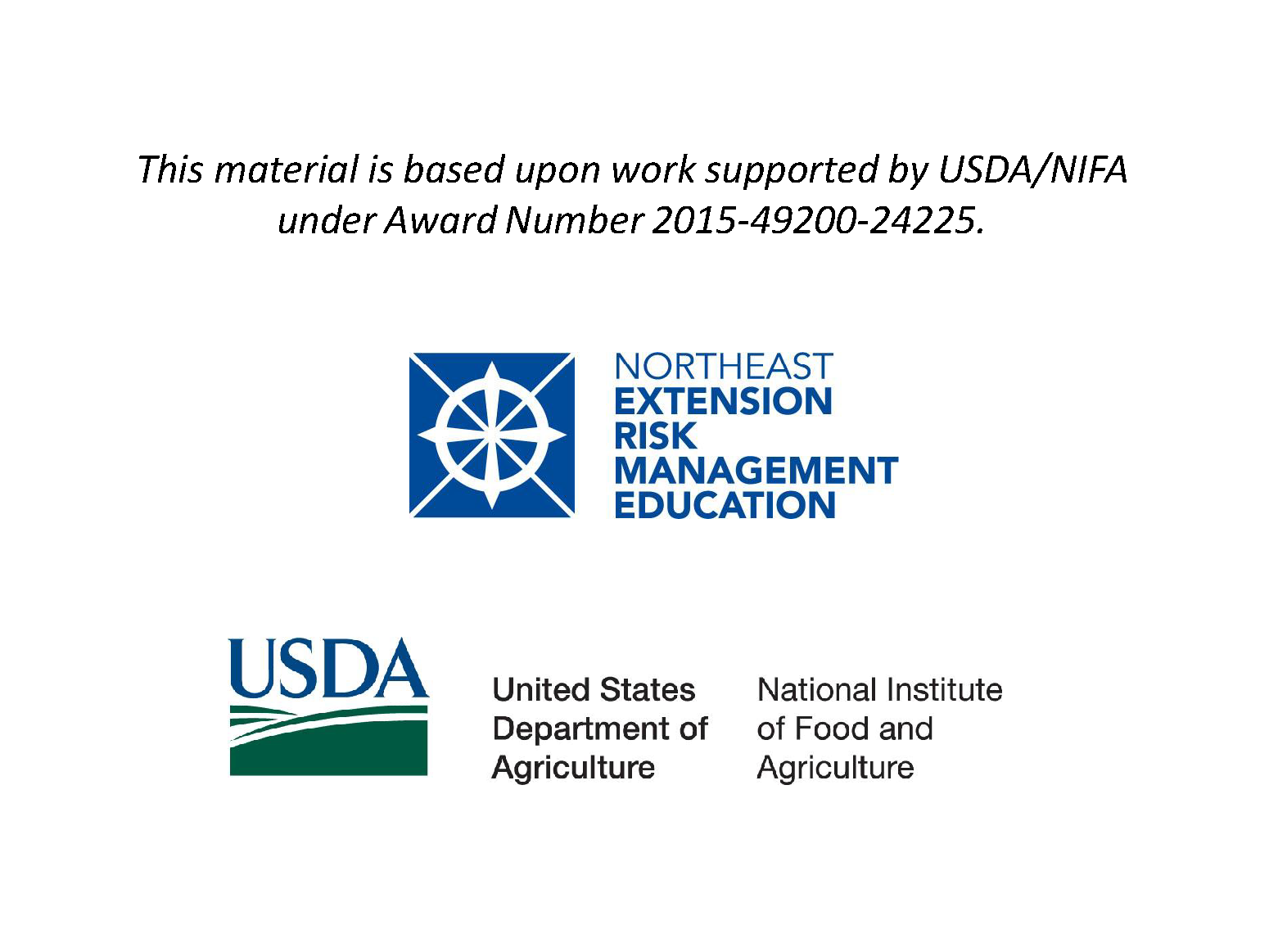 This material is based upon work supported by USDA/NIFA under Award Number 2015-49200-24225.